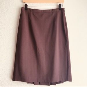 Brown back pleat skirt size 4